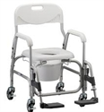 Picture of Nova Deluxe Shower Chair and Commode with Waterfall Armrests, Shower Commode, Bath Safety Item #NO8801