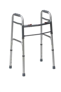 Picture of Deluxe Folding Two Button Walker (Silver) aka Standard Walker, Adult Folding Walker
