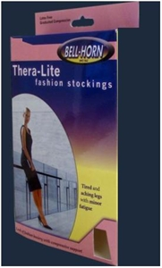 Picture of TheraLite Fashion Stockings aka Compression Leg Wear 15-20 mmHg Garter-Top Thigh-High Closed-Toe (Beige)(Medium)