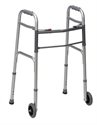 "Picture of Folding Walker Two Button Release with 5"" Wheels (Silver) aka Standard Adult Walker with Wheels"