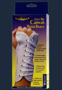 Picture of Lace-Up Canvas Wrist Brace (Left/Small) aka Small Wrist Support, After Cast Removal Wrist Support Brace, Clearance Wrist Brace