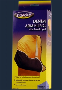 Picture of Denim Arm Sling adjustable with Shoulder Pad (Universal) aka shoulder immobilizer, cradle arm sling