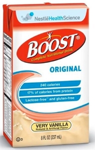 Picture of Boost Original Very Vanilla, Rich Chocolate or Creamy Strawberry Nutritional Drink (Case of 27/8oz. Drink Box) aka Oral Supplement, NS67438, NS67538, NS676392