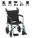 "Picture of NOVA Lightweight Transport Chair 19"" Full-Arm Swing-Away Footrest with Hand Brakes & Large 12"" Rear Wheels (Blue)"