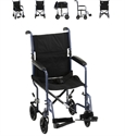 "Picture of NOVA Steel Transport Chair 19"" Full-Arm Swing-Away Footrest with 8"" Rear Wheels (Blue)"