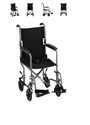 "Picture of Transport Chair with Carbon Steel Frame 17"" Full-Arm Removable Footrest (Silver)"