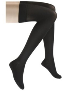 Picture of Large Anti Embolism Stocking 18 mmHg (Closed Toe/Thigh High)(Large/Black) aka Bell Horn Stockings,  Edema Stockings, 18 gage Thigh High Stockings