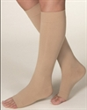 Picture of Microfiber Graduated Compression Stockings 20-30 mmHg (Knee High - Open Toe)(Beige) aka Legwear, Bell Horn Stockings, Dr. Comfort Stockings, Shaped to Fit, Unisex Hose