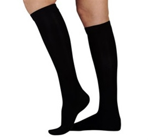 Picture of Microfiber Graduated Compression Stockings 20-30 mmHg Knee-High Closed-Toe (Black) aka Legwear, Dr. Comfort Compression Stockings