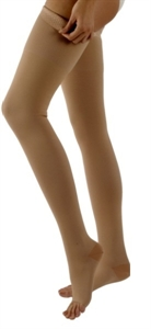 Picture of Microfiber Graduated Compression Stockings 20-30 mmHg (Small)(Thigh High - Open Toe)(Beige) aka Leg Wear, Bell Horn Stockings, Small Medical Socks