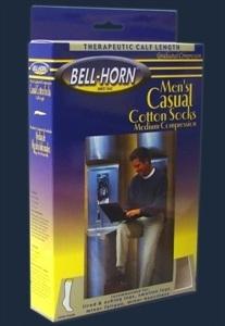 Picture of Men's Casual Cotton Graduated Compression Socks 20-30 mmHg (Large/Black) aka Legwear, Bell Horn Stockings, Bell Horn Socks, Support Socks