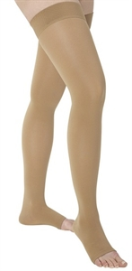 Picture of Thigh High Stocking with Silicone Band 18 mmHg (Open Toe)(Beige/Medium) aka Bell Horn Stockings, Anti Embolism Stockings