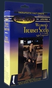 Picture of Women's Trouser Compression Stockings 15-20 mmHg (Closed Toe)(White- Small) aka Bell Horn Socks, Support Hose, Travel Socks