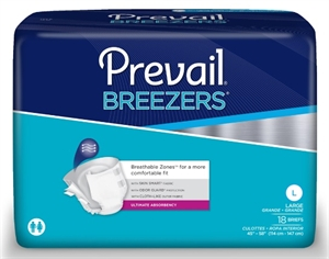 Picture of Prevail Breezers Adult Briefs Large (Pack of 18) aka Large Adult Diapers, Prevail Breezers Large, Prevail pvb large