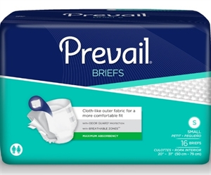 "Picture of Prevail® Adult Briefs (Small 20"" - 31"")(Pack of 16) Maximum Absorbency, Breathable Protection with Tabs"