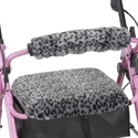 Picture of Nova Rolling Walker Seat and Backrest Cover Set (Snow Leopard), aka Cheetah Seat Cover Walker, Walker Accessories, Walker Seat Cover, Walker Back rest Cover, Rollator Covers, Leopard Print Seat Cover