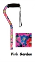 Picture of Nova Sugar Cane (Pink Garden) Offset Handle, Stand alone cane, Stability Cane, Floral Print Cane