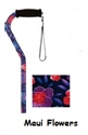 Picture of Nova Sugar Cane (Maui Flowers) Offset Handle, Stand alone cane, Stability Cane, Floral Print Cane