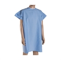 Picture of Washable DMI Hospital Convalescent Gown with Back Ties (Blue)(each) aka Patient Gowns, Reusable Hospital Gowns, Convalescent Gowns, Free Shipping