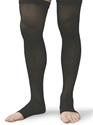 Picture of Microfiber Graduated Compression Stockings 20-30 mmHg (Medium)(Thigh High - Open Toe)(Black) aka Leg Wear, Bell Horn Stockings, Open Toe Socks