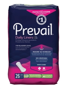 "Picture of Prevail Daily Liners Light Absorbency 7 1/2"" (Pack of 26) aka Incontinence Pads, Pantiliner, Prevail Liners, Prevail Pads"