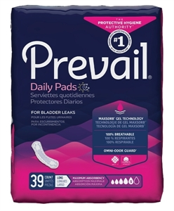 "Picture of Prevail Daily Pads Maximum Absorbency Long 13"" (Pack of 39) aka Pantiliners, Adult Incontinence Products, Prevail Maximum Long Bladder Pads, Prevail PV-915, Bladder Control Pads"