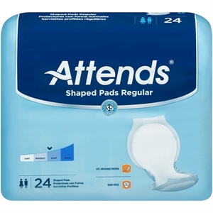 Picture of Attends Shaped Pads Day Regular (Pack of 24) aka Attends Day Regular Pads, Attends 31684, attends pads, incontinence pads